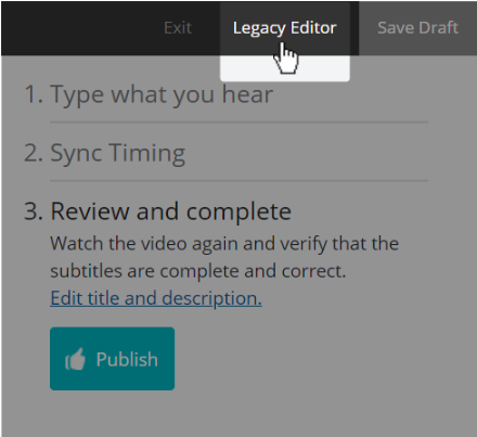screenshot showing the legacy editor button inside the Amara editor