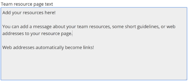 screenshot of messages settings page with input field for Team Resources Page Text