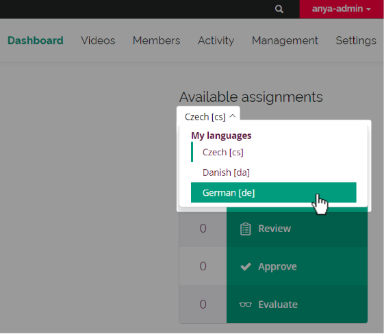 screenshot of collaboration team dashboard Available Assignments table with language filter open