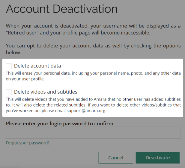 Screenshot of account deactivation page with new options highlighted.