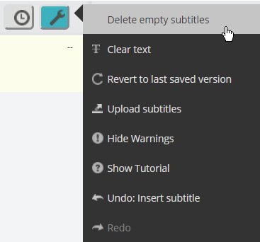 Screenshot of Subtitle Tools menu open in the editor with cursor over the Delete empty subtitles option