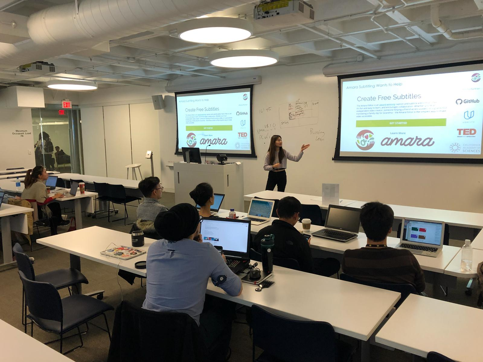 Jocelyn leading a Subtitle-thon for Amara.org in San Francisco