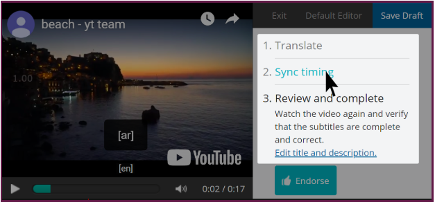 a mouse hovers over the list of steps in the upper left of the editor, showing that the text is a clickable link