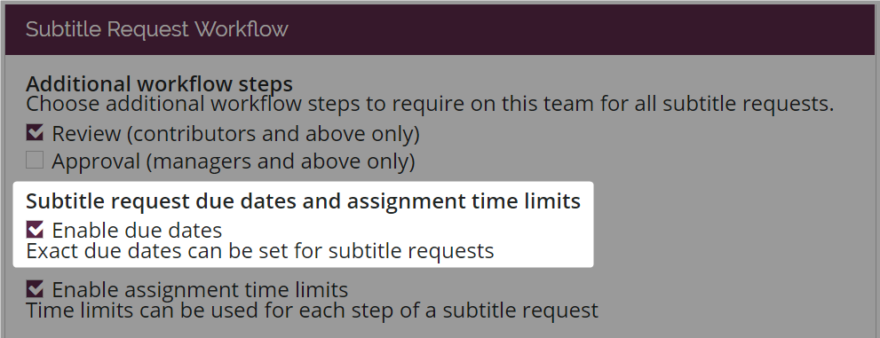 Enable due dates option highlighted in settings workflow page for new style amara teams