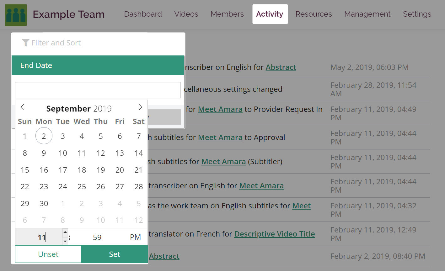 End date filter selector with date and time on activity page in Amara teams