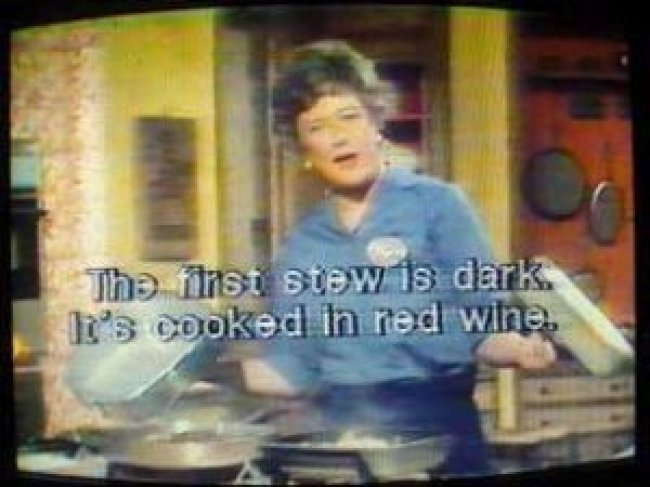 Julia Child's program The French Chef with open subtitles