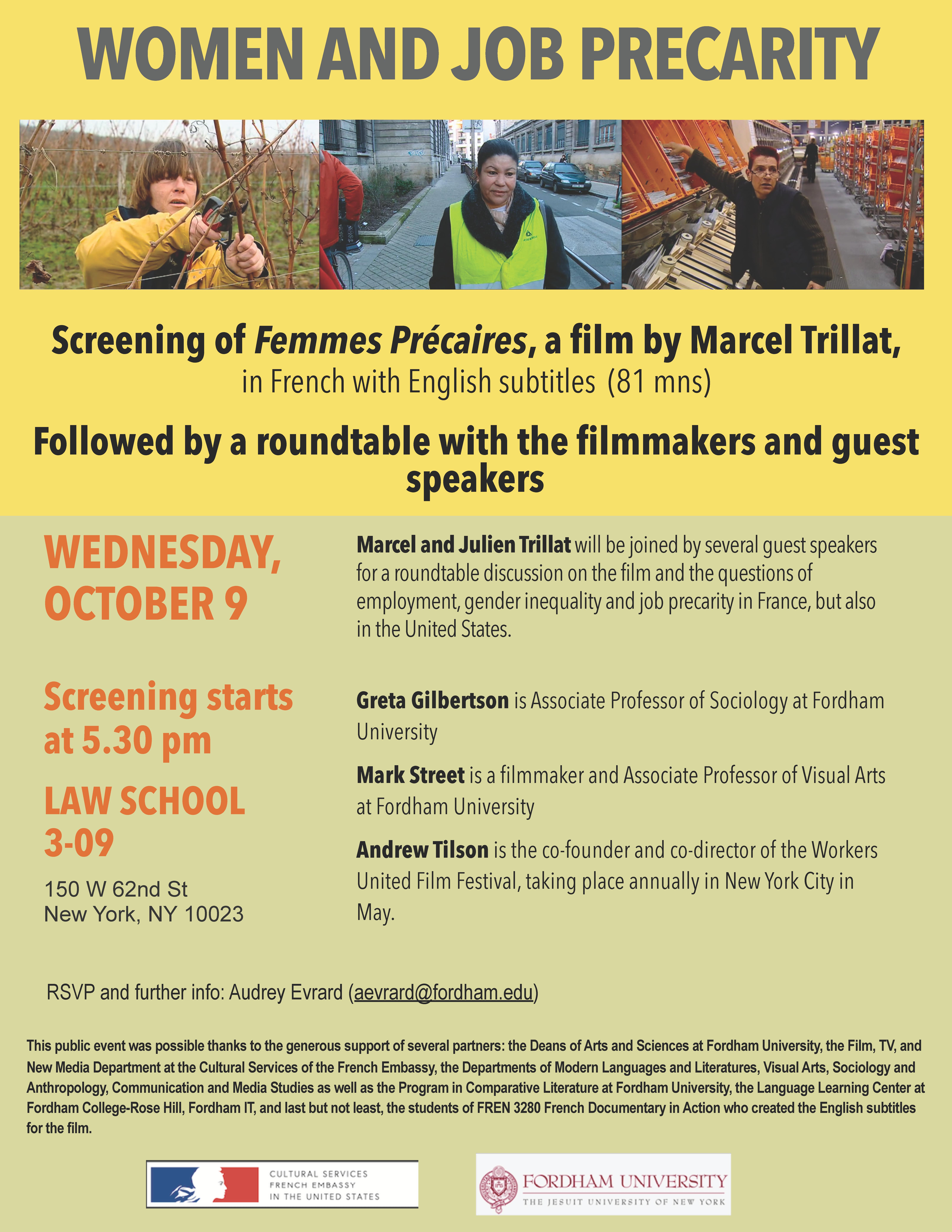"""Flyer for """"Femmes Précaires"""" Documentary"""""""