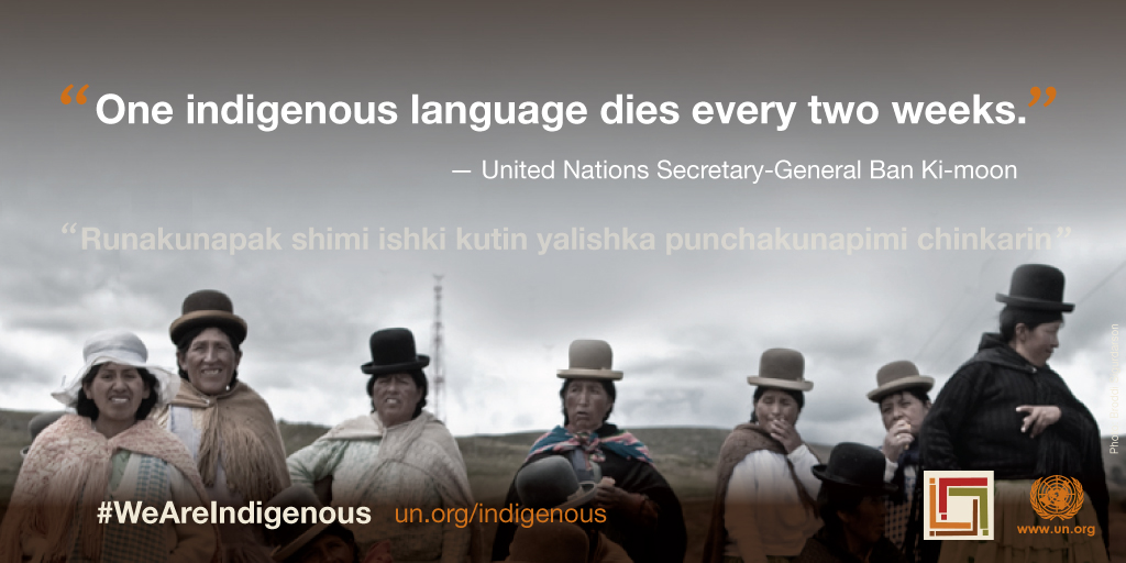 Card by the UN that says one indigenous language dies every two weeks