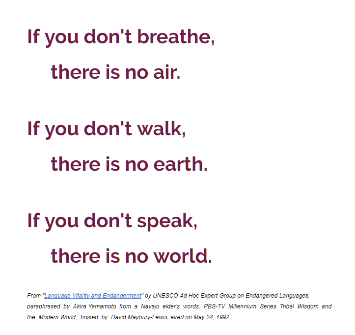 """Stylized text that says """"If you don't breathe, there is no air. If you don't walk, there is no earth. If you don't speak, there is no world."""""""