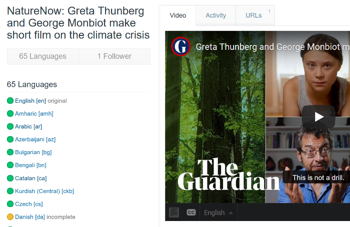 Screenshot of an Amara Free page featuring a Greta Thunberg video subtitled into 65 languages.