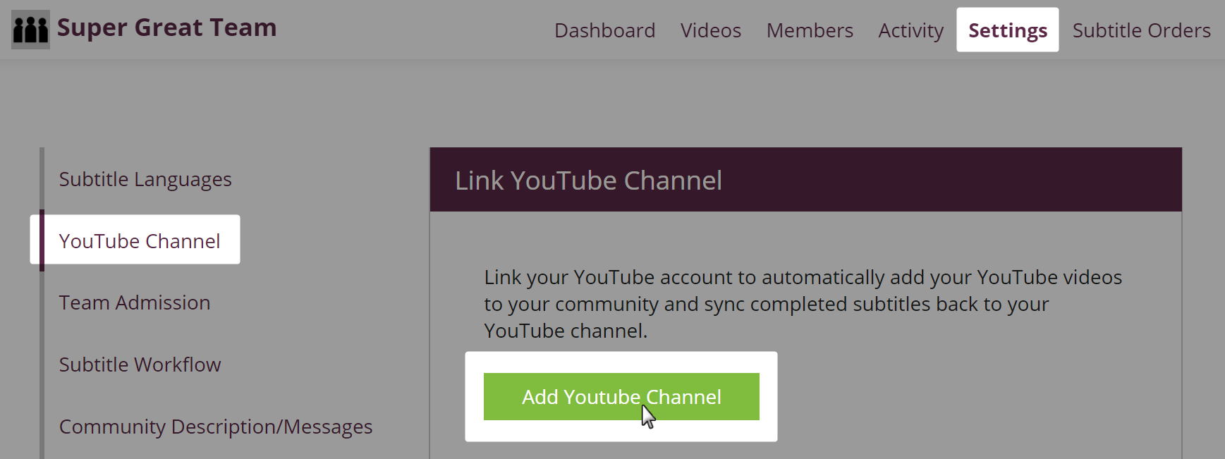 YouTube Channel Settings page on Amara Community with page navigation and button highlighted for adding a YouTube channel